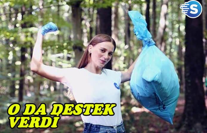 Serenay Sarıkaya'da 'Çöp Toplama' hareketine katıldı