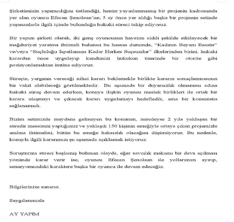 Efecan Şenolsun Çarpışma dizisinin kadrosundan çıkartıldı